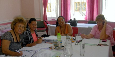 A meeting with the Women Shelter Movement in Cape Town, 2012.